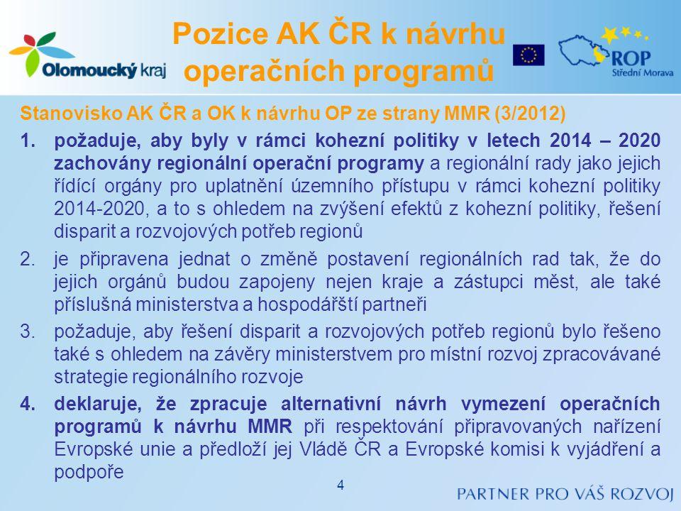Pozice AK ČR k návrhu operačních programů