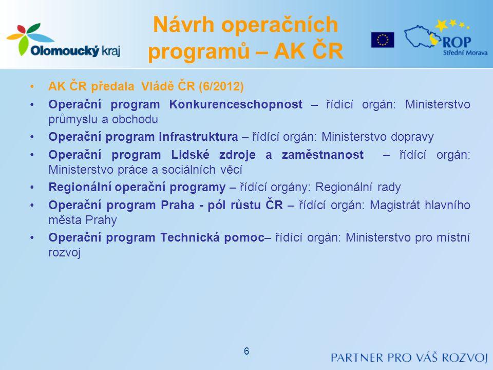 Návrh operačních programů – AK ČR