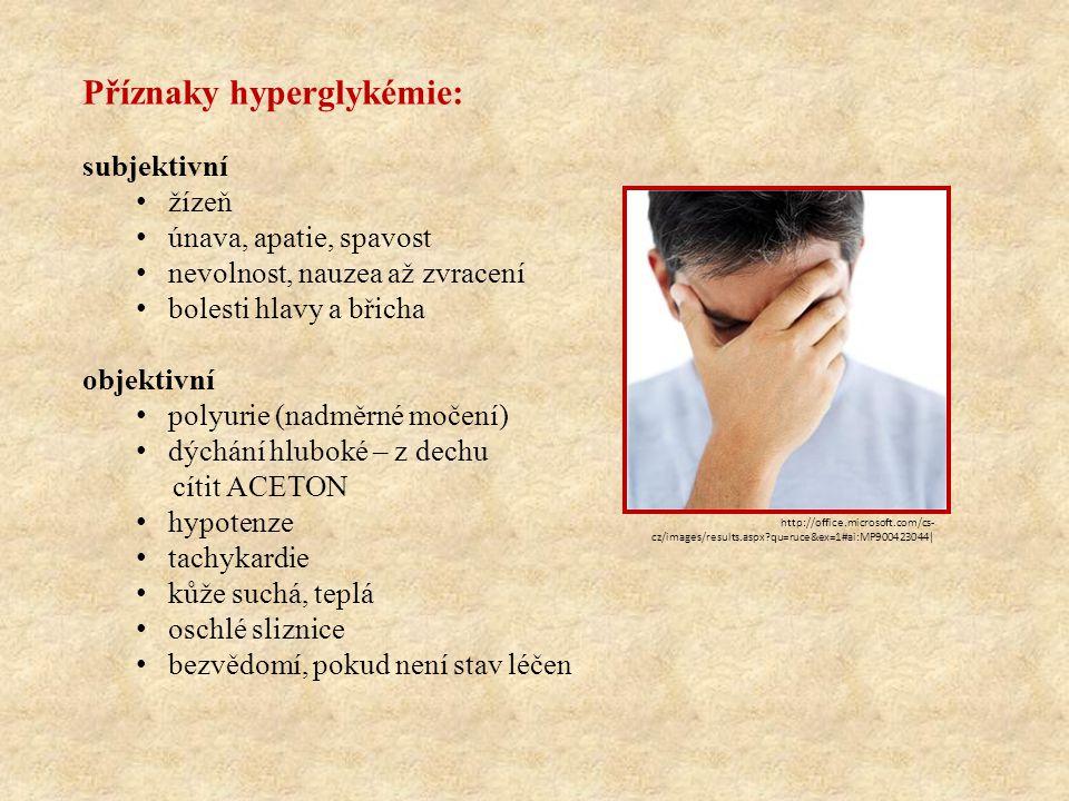 Příznaky hyperglykémie: