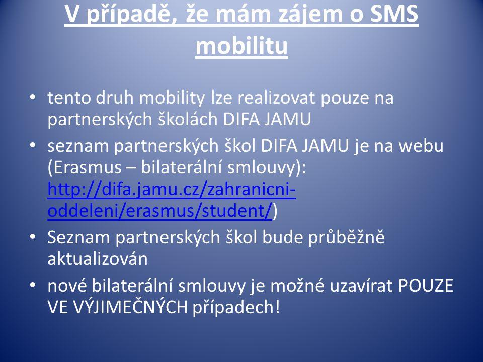V případě, že mám zájem o SMS mobilitu