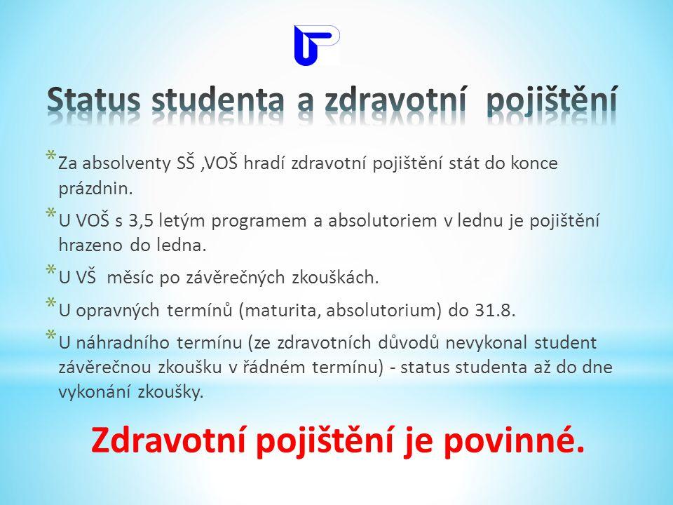 Status studenta a zdravotní pojištění