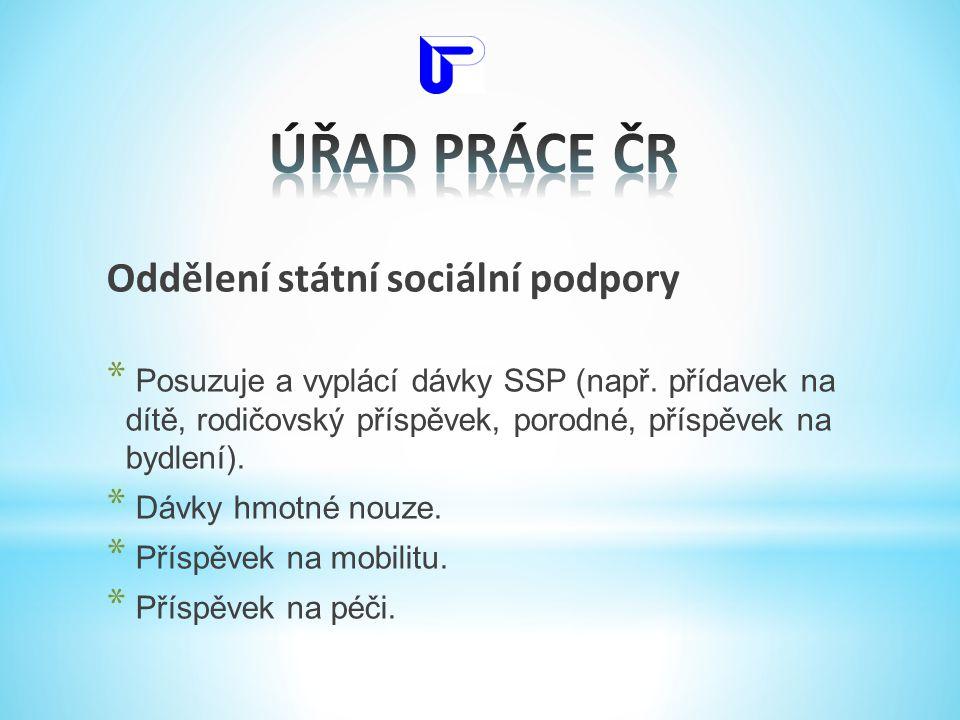 ÚŘAD PRÁCE ČR Oddělení státní sociální podpory