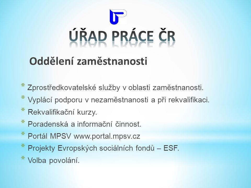 ÚŘAD PRÁCE ČR Oddělení zaměstnanosti