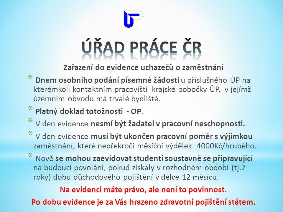 ÚŘAD PRÁCE ČR Zařazení do evidence uchazečů o zaměstnání