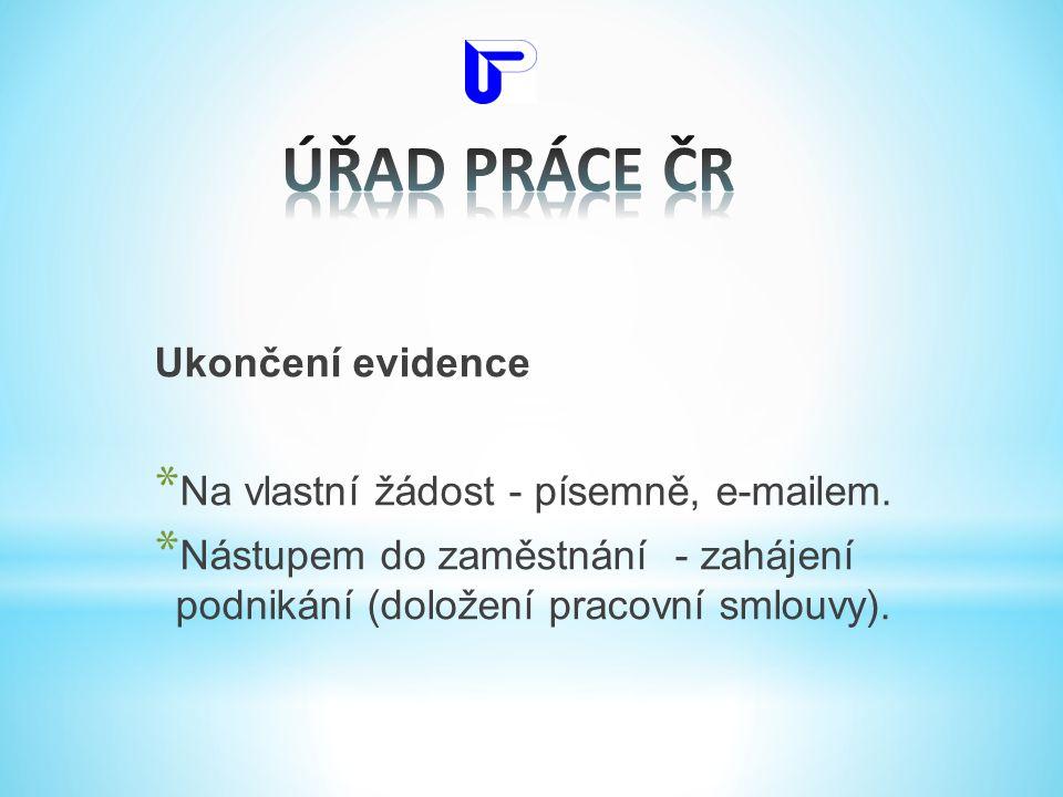 ÚŘAD PRÁCE ČR Ukončení evidence Na vlastní žádost - písemně, e-mailem.