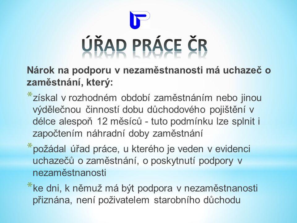 ÚŘAD PRÁCE ČR Nárok na podporu v nezaměstnanosti má uchazeč o zaměstnání, který: