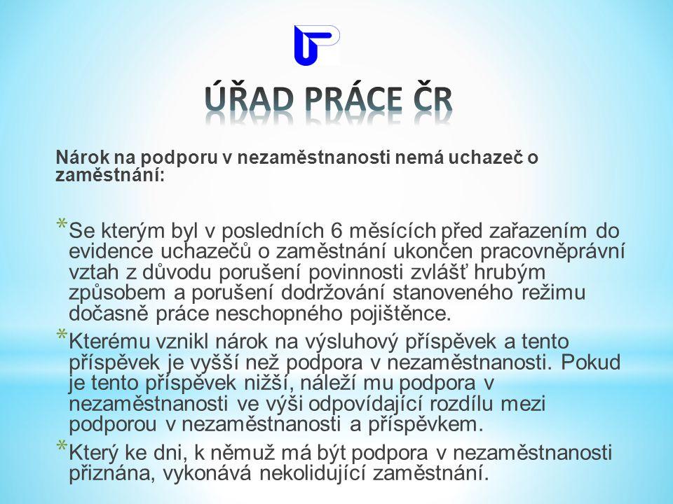 ÚŘAD PRÁCE ČR Nárok na podporu v nezaměstnanosti nemá uchazeč o zaměstnání: