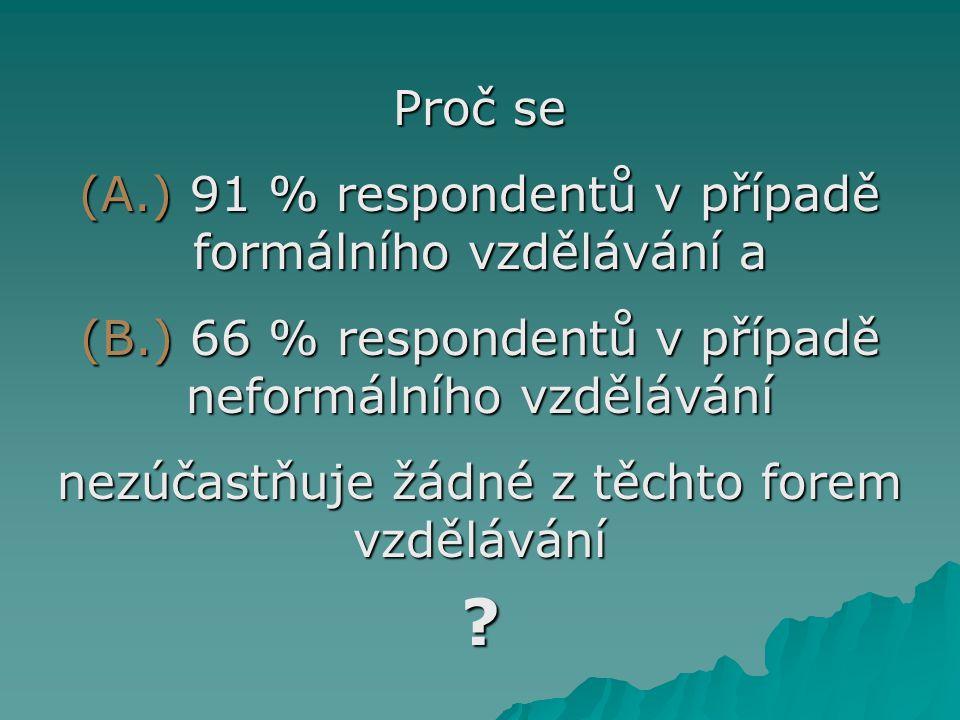 Proč se (A.) 91 % respondentů v případě formálního vzdělávání a