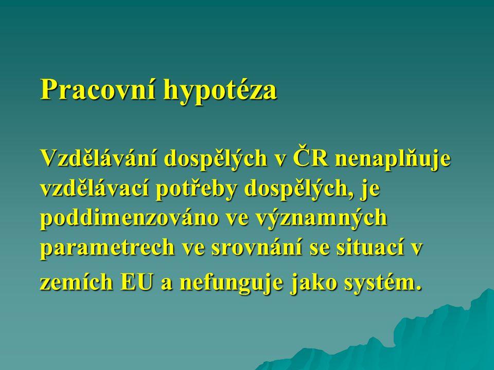 Pracovní hypotéza Vzdělávání dospělých v ČR nenaplňuje vzdělávací potřeby dospělých, je poddimenzováno ve významných parametrech ve srovnání se situací v zemích EU a nefunguje jako systém.