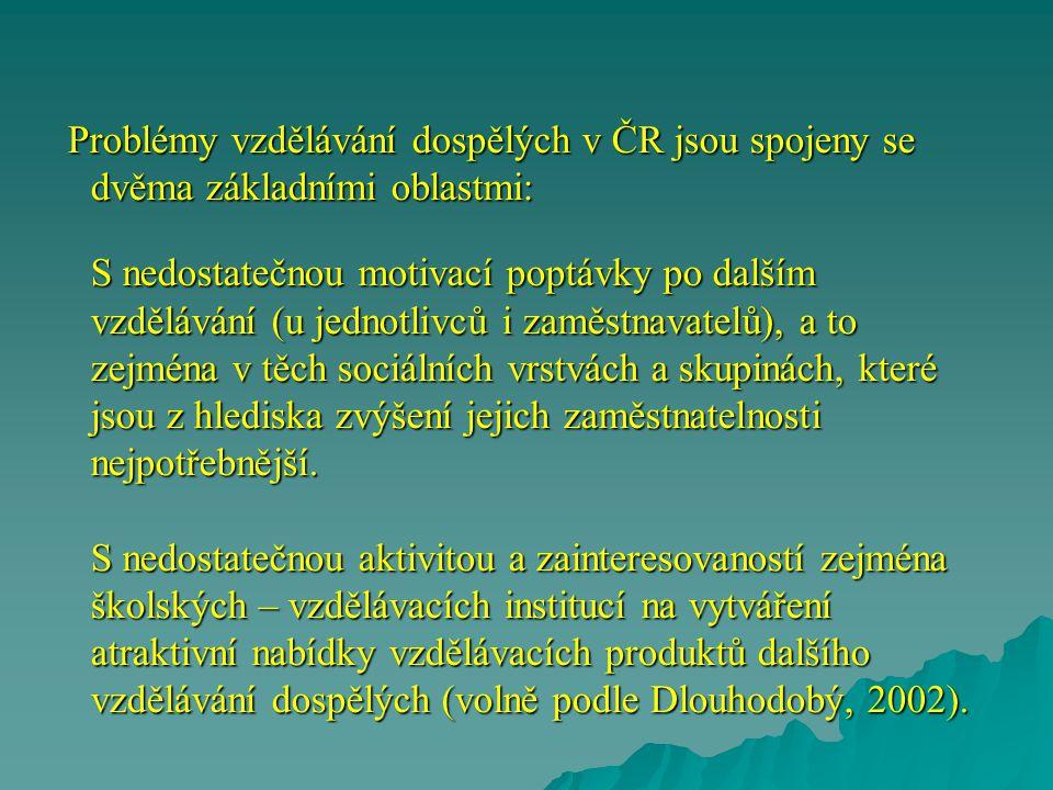 Problémy vzdělávání dospělých v ČR jsou spojeny se dvěma základními oblastmi: S nedostatečnou motivací poptávky po dalším vzdělávání (u jednotlivců i zaměstnavatelů), a to zejména v těch sociálních vrstvách a skupinách, které jsou z hlediska zvýšení jejich zaměstnatelnosti nejpotřebnější.