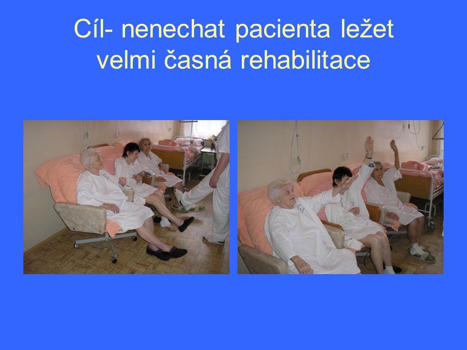 Cíl- nenechat pacienta ležet velmi časná rehabilitace