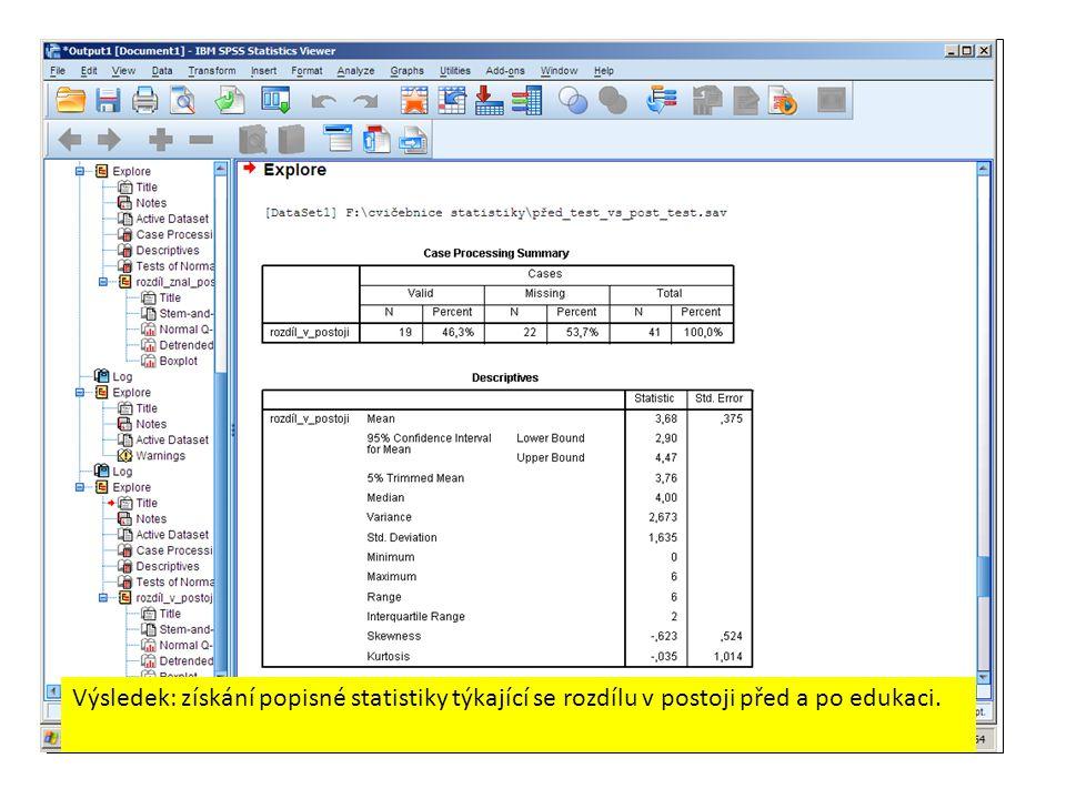 Výsledek: získání popisné statistiky týkající se rozdílu v postoji před a po edukaci.