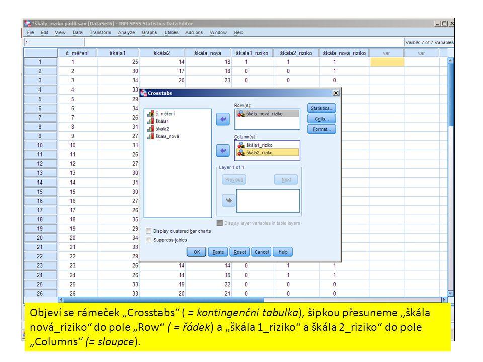 """Objeví se rámeček """"Crosstabs ( = kontingenční tabulka), šipkou přesuneme """"škála nová_riziko do pole """"Row ( = řádek) a """"škála 1_riziko a škála 2_riziko do pole """"Columns (= sloupce)."""