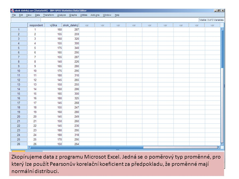 Zkopírujeme data z programu Microsot Excel