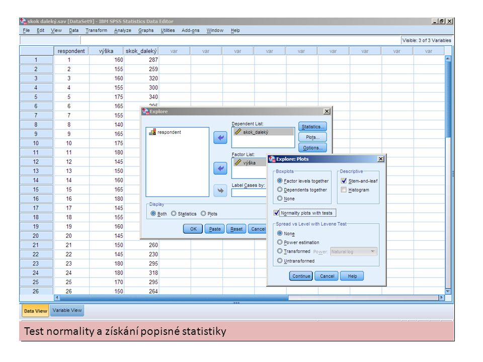 Test normality a získání popisné statistiky