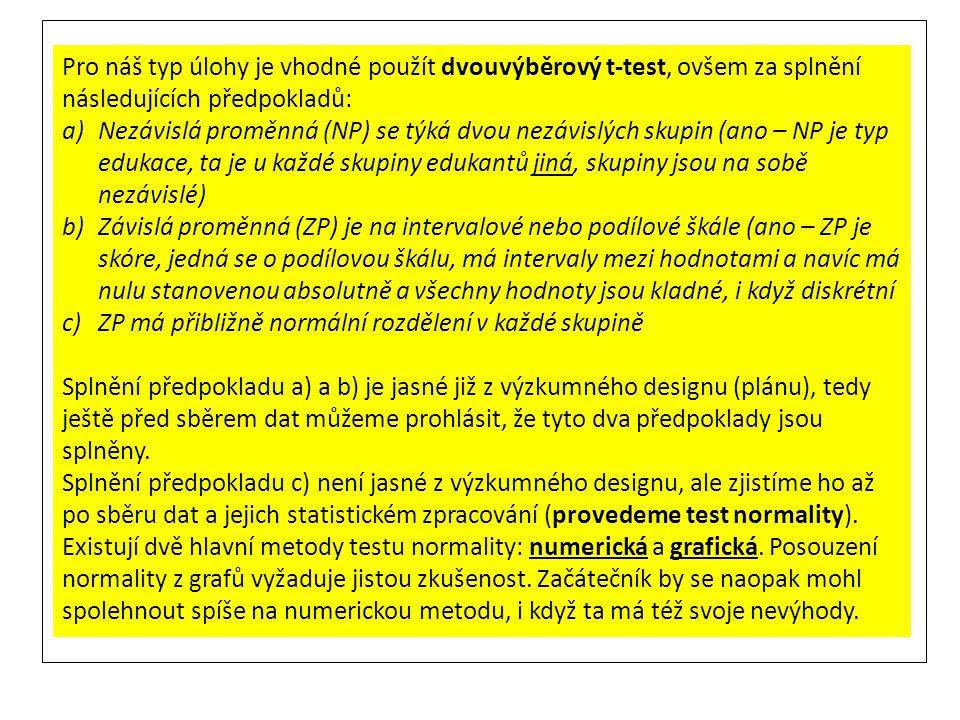 Pro náš typ úlohy je vhodné použít dvouvýběrový t-test, ovšem za splnění následujících předpokladů:
