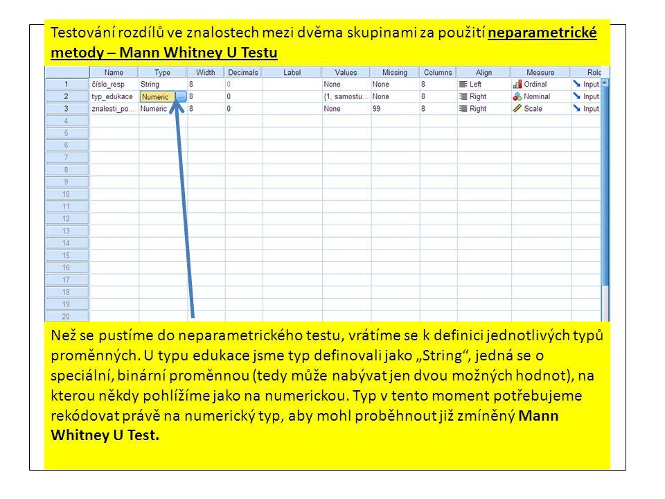 Testování rozdílů ve znalostech mezi dvěma skupinami za použití neparametrické metody – Mann Whitney U Testu