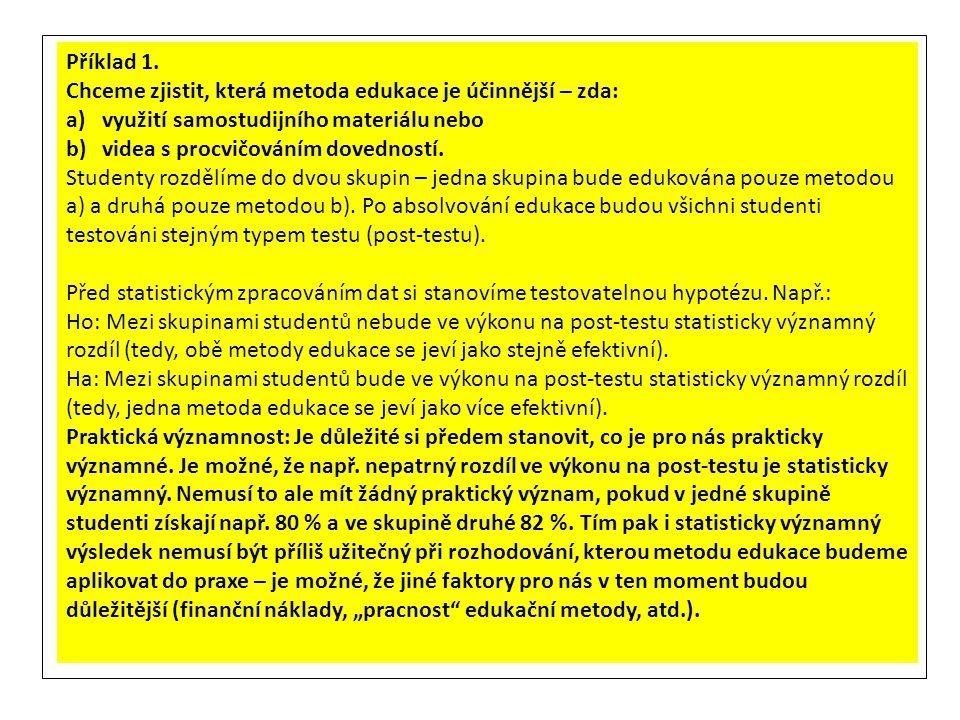 Příklad 1. Chceme zjistit, která metoda edukace je účinnější – zda: využití samostudijního materiálu nebo.