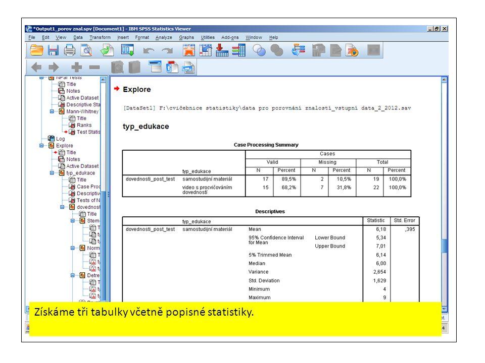 Získáme tři tabulky včetně popisné statistiky.