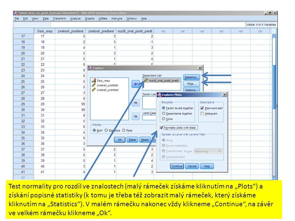 """Test normality pro rozdíl ve znalostech (malý rámeček získáme kliknutím na """"Plots ) a získání popisné statistiky (k tomu je třeba též zobrazit malý rámeček, který získáme kliknutím na """"Statistics )."""