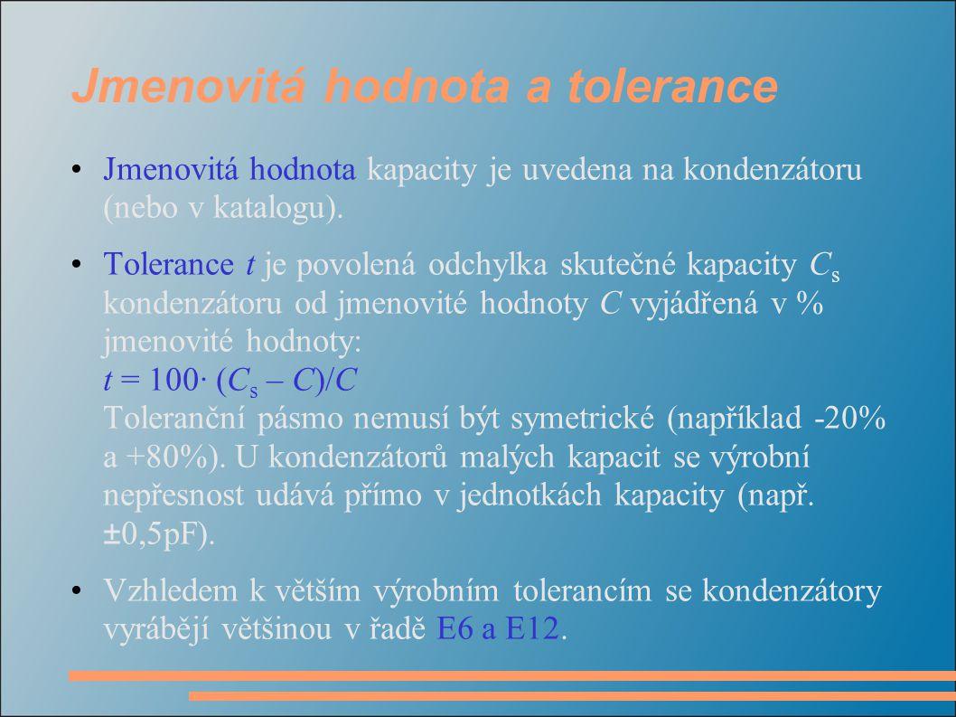 Jmenovitá hodnota a tolerance