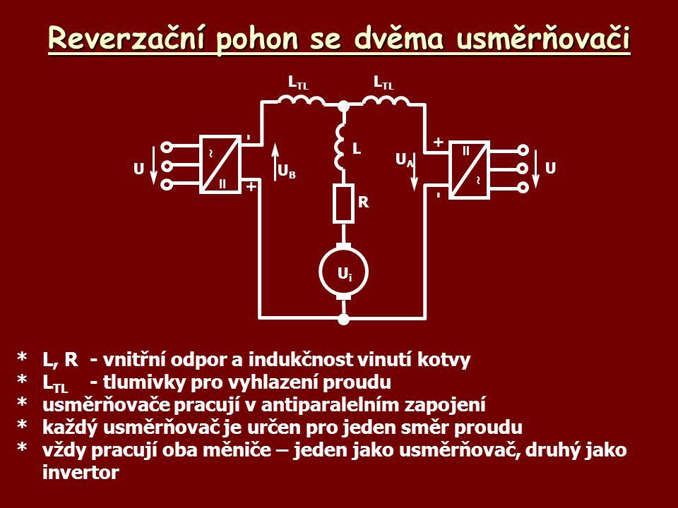 Reverzační pohon se dvěma usměrňovači