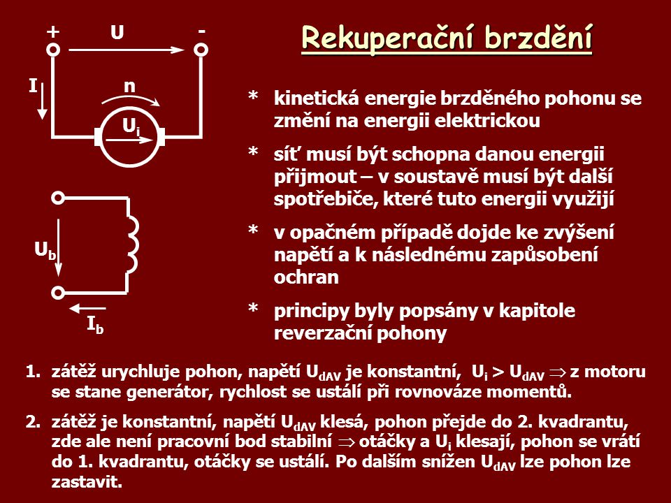 Rekuperační brzdění Ub Ib U + - Ui n I