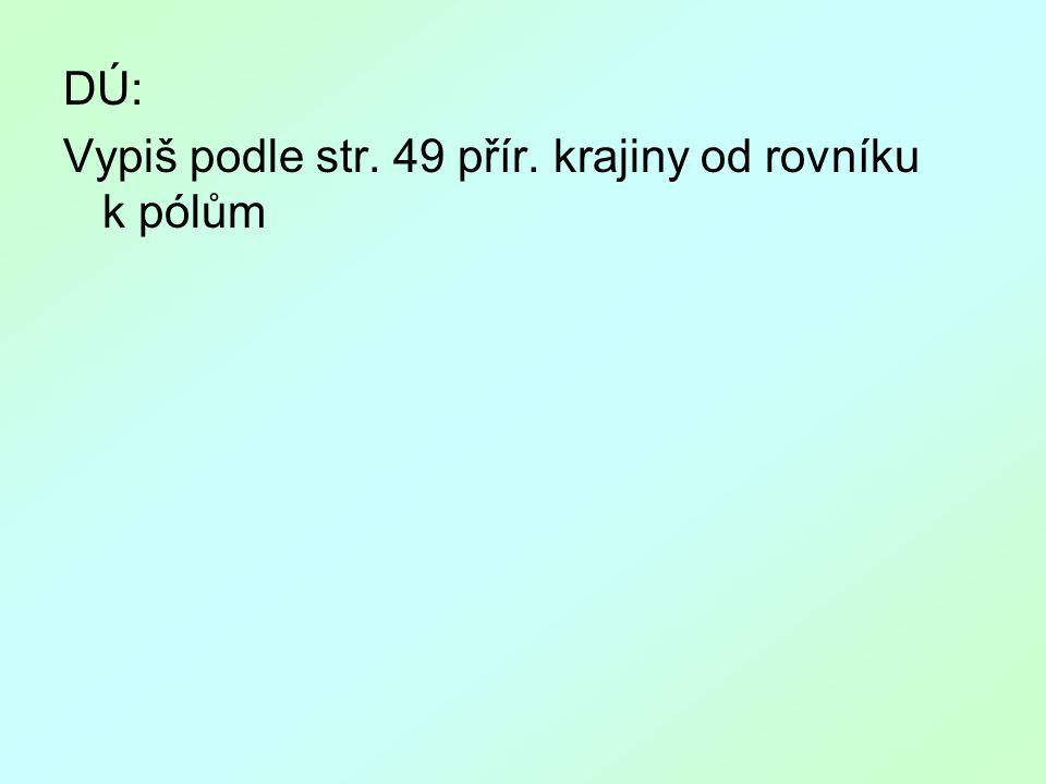 DÚ: Vypiš podle str. 49 přír. krajiny od rovníku k pólům