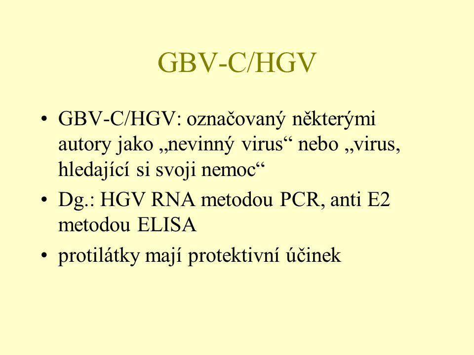 """GBV-C/HGV GBV-C/HGV: označovaný některými autory jako """"nevinný virus nebo """"virus, hledající si svoji nemoc"""