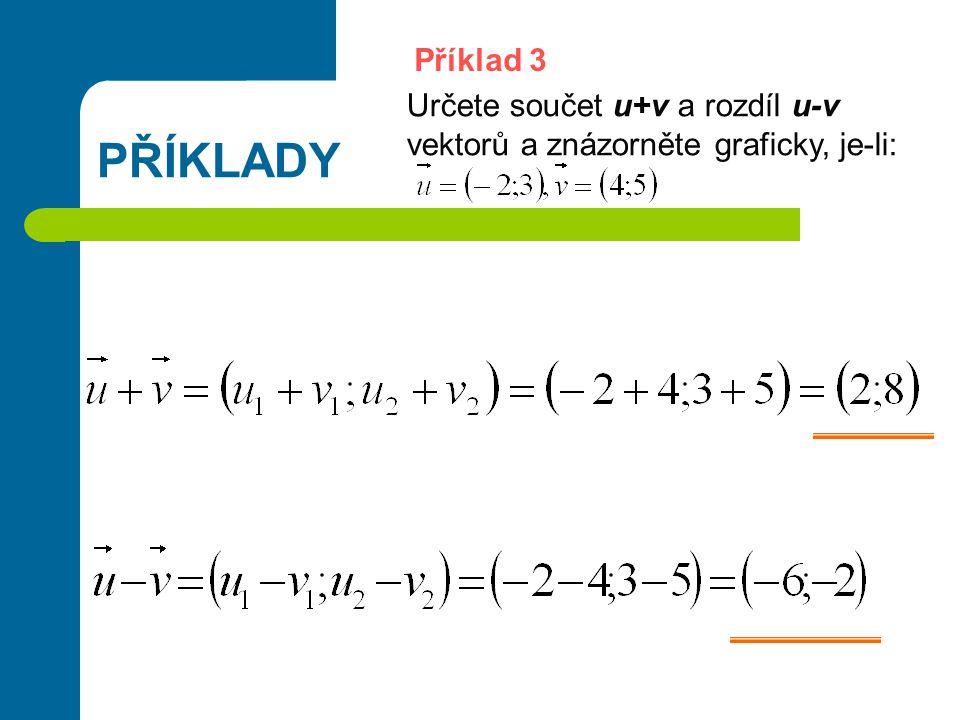 Příklad 3 PŘÍKLADY Určete součet u+v a rozdíl u-v vektorů a znázorněte graficky, je-li:
