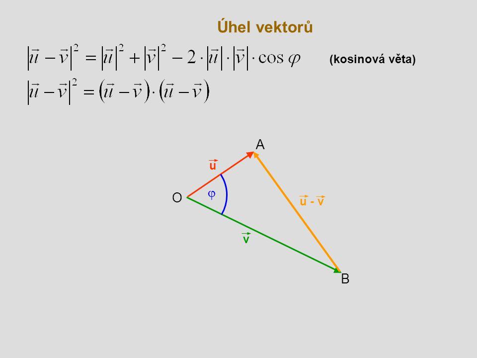 Úhel vektorů (kosinová věta) A u j O u - v v B
