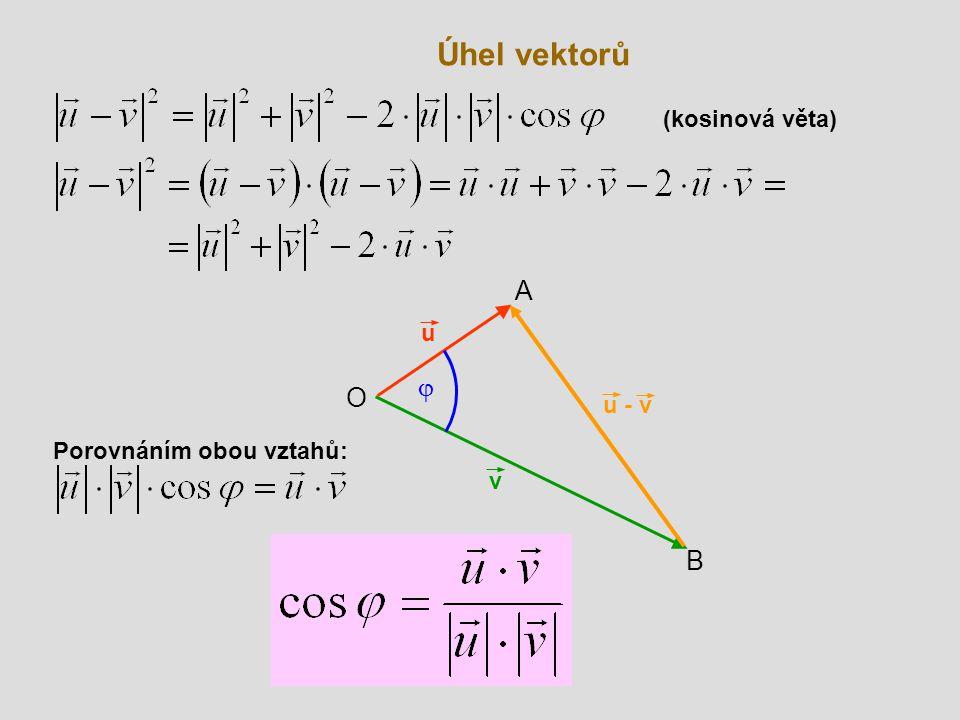 Úhel vektorů (kosinová věta) A u j O u - v Porovnáním obou vztahů: v B