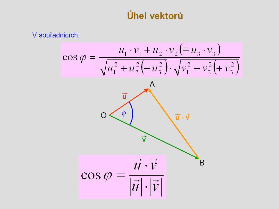 Úhel vektorů V souřadnicích: A u j O u - v v B
