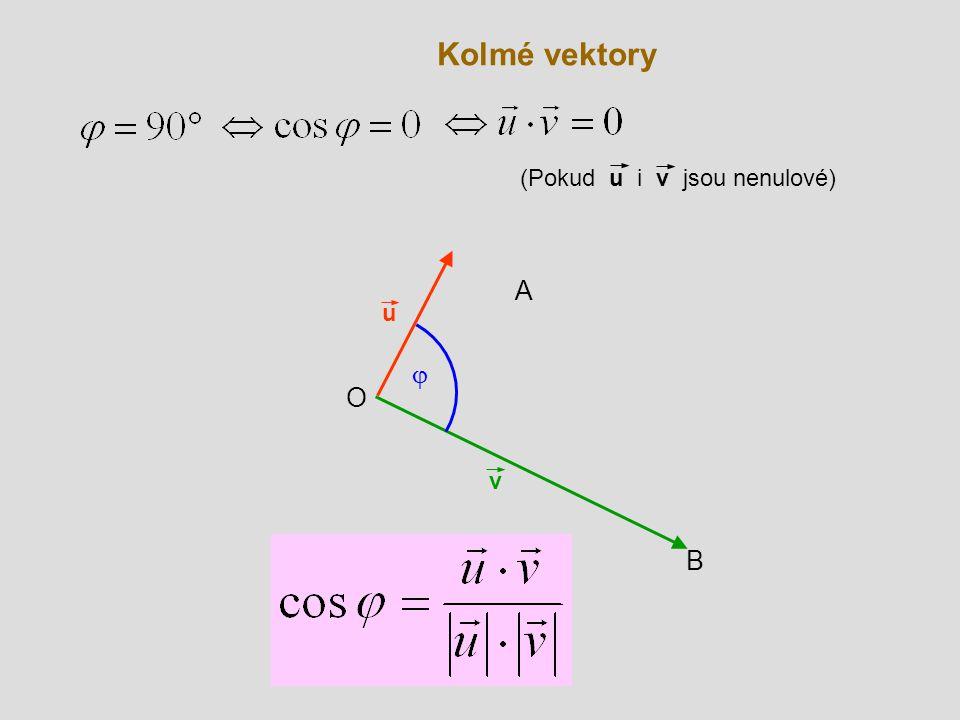 Kolmé vektory (Pokud u i v jsou nenulové) A u j O v B