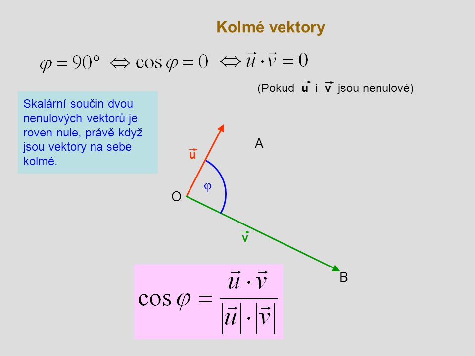 Kolmé vektory A j O B (Pokud u i v jsou nenulové)