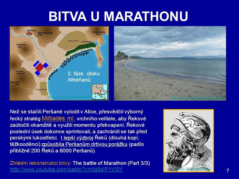 BITVA U MARATHONU 2. fáze útoku Athéňanů 1. fáze útoku Athéňanů