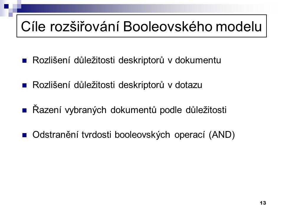 Cíle rozšiřování Booleovského modelu