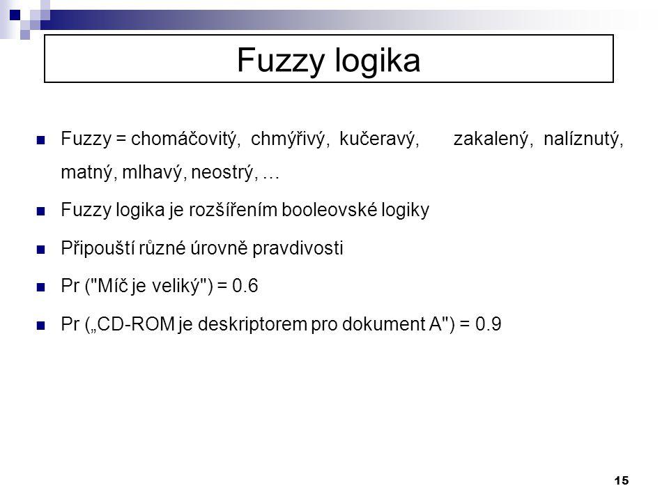 Fuzzy logika Fuzzy = chomáčovitý, chmýřivý, kučeravý, zakalený, nalíznutý, matný, mlhavý, neostrý, …