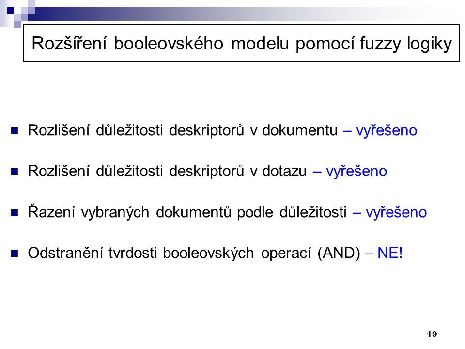Rozšíření booleovského modelu pomocí fuzzy logiky