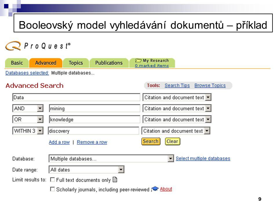 Booleovský model vyhledávání dokumentů – příklad