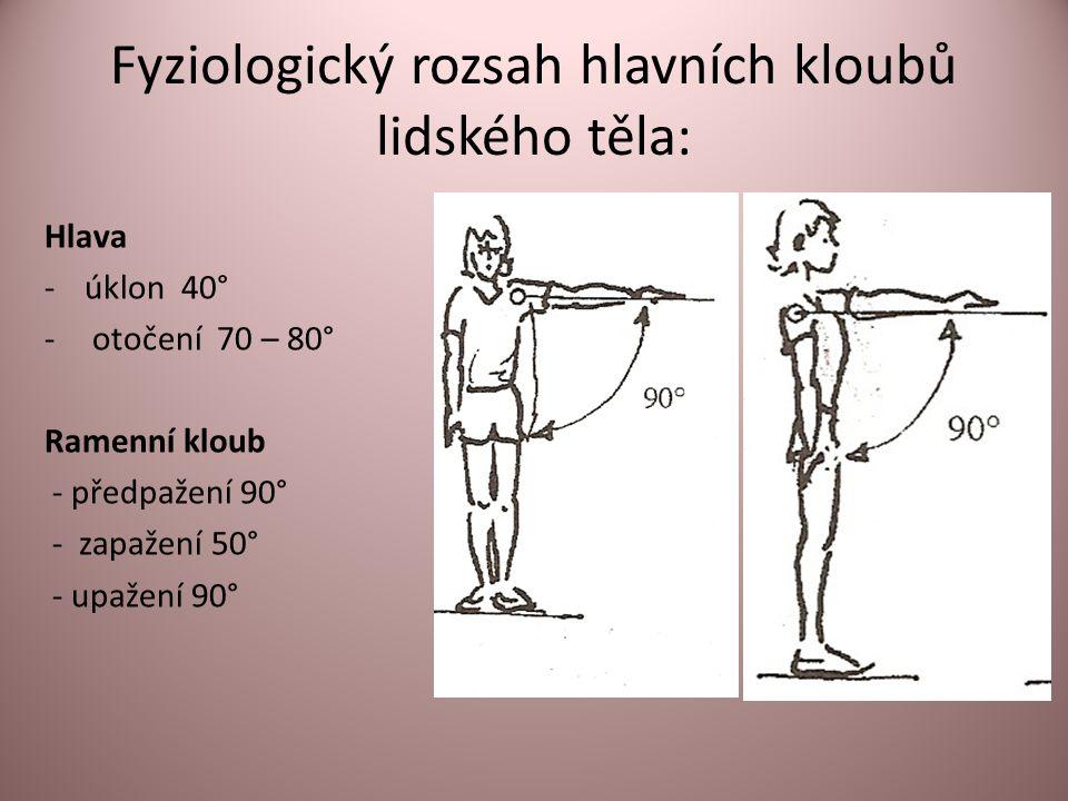 Fyziologický rozsah hlavních kloubů lidského těla: