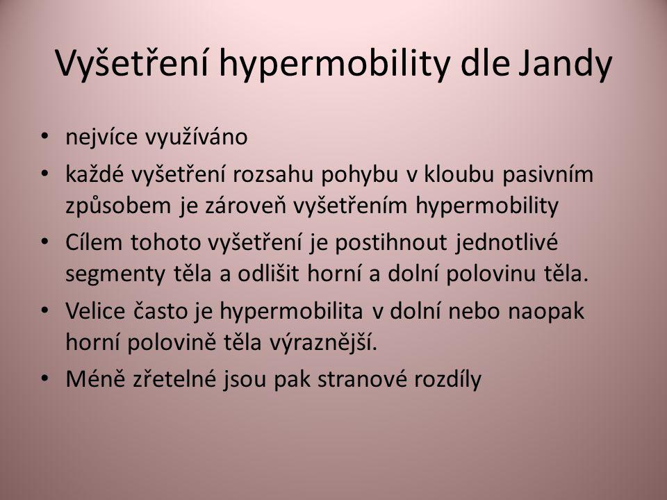 Vyšetření hypermobility dle Jandy