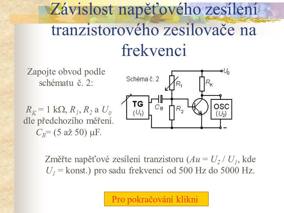 Závislost napěťového zesílení tranzistorového zesilovače na frekvenci