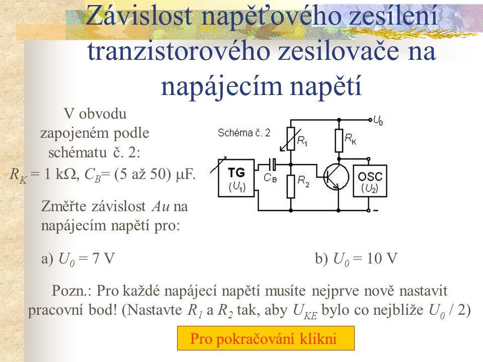 Závislost napěťového zesílení tranzistorového zesilovače na napájecím napětí