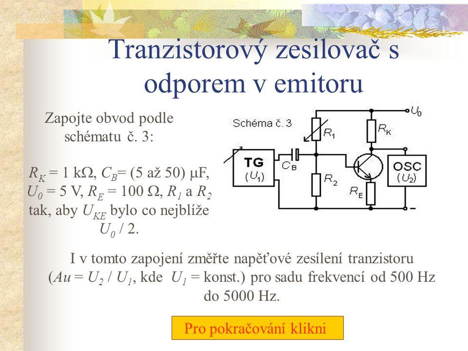 Tranzistorový zesilovač s odporem v emitoru