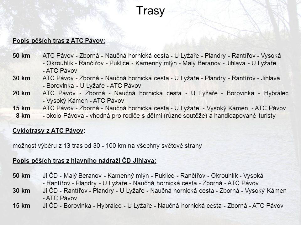 Trasy Popis pěších tras z ATC Pávov: