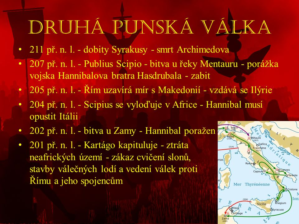 Druhá punská válka 211 př. n. l. - dobity Syrakusy - smrt Archimedova