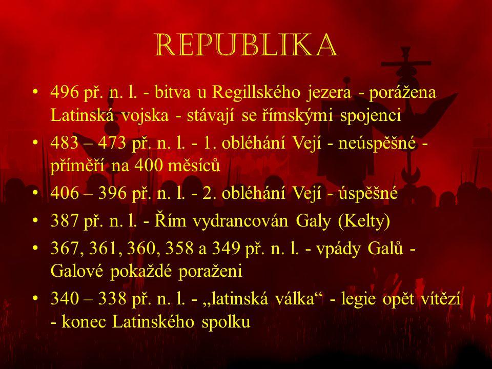 REPUBLIKA 496 př. n. l. - bitva u Regillského jezera - porážena Latinská vojska - stávají se římskými spojenci.