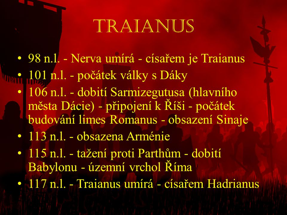 Traianus 98 n.l. - Nerva umírá - císařem je Traianus