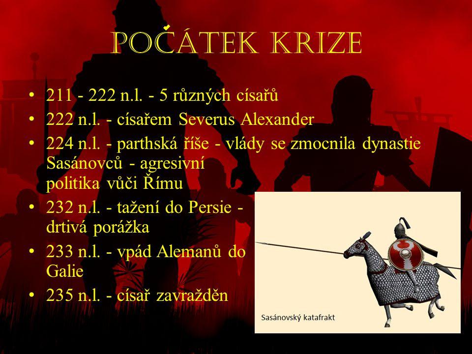 pocátek Krize 211 - 222 n.l. - 5 různých císařů